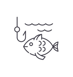fishing line icon concept fishing linear vector image