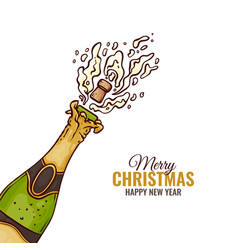 Flat champagne splash popping cork merry christmas vector