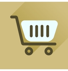 Flat icon with long shadow shopping cart vector image
