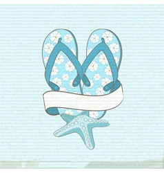 Flip flops starfish and banner vector