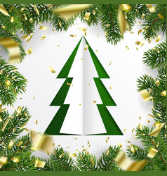 frame christmas tree branches and golden flying vector image