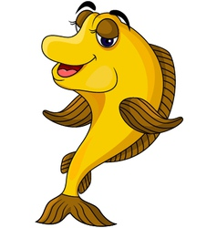 funny yellow cartoon fish vector image