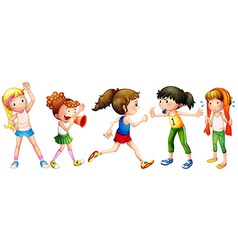 Girls and exercise vector image