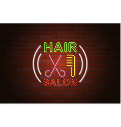 glowing neon signboard hair salon on brick wall vector image
