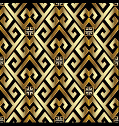 gold 3d greek seamless pattern vector image