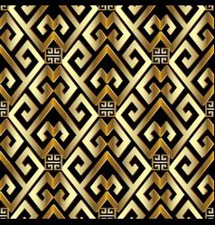 Gold 3d greek seamless pattern vector
