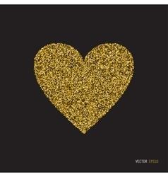 Gold glitter heart on white background vector image vector image
