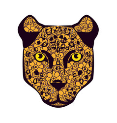 Golden cougar head with mandala pattern vector