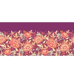 Golden flowers and leaves horizontal seamless vector image