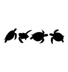 green sea turtle silhouette 02 vector image