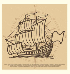Grunge travel background with antique ship vector
