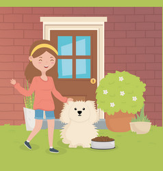 happy girl with her dog pet care vector image