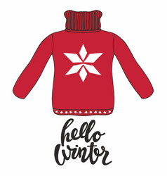 hello winter with a red pullover for design and vector image