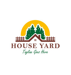home yard logo in forest vector image
