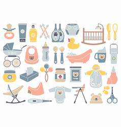 Icons of products for newborns vector