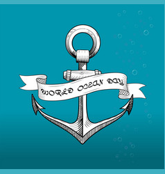 ill for ocean day with anchor vector image