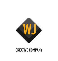 Initial letter wj black creative design logo in vector