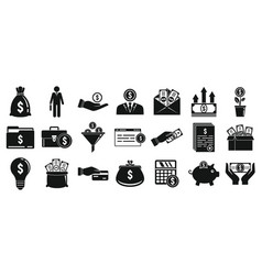 Investor icons set simple style vector