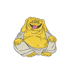 Laughing Bulldog Buddha Sitting Cartoon vector image