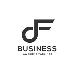 letter df luxury black and white logo vector image