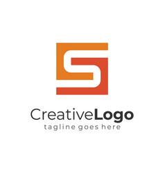 letter s and g orange vintage square logo flat vector image