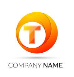 Letter t logo symbol in the colorful circle on vector