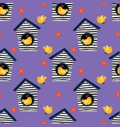 Little birds seamless pattern vector