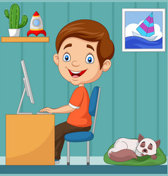 Little boy working on personal computer at home vector