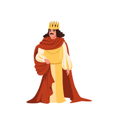 Majestic king in golden crown and red mantle vector