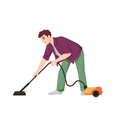 Man vacuuming floor with vacuum cleaner isolated vector