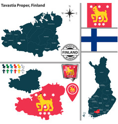 map of tavastia proper finland vector image