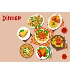 Meat dishes with appetizers icon food theme design vector