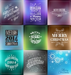 Merry Christmas Vintage retro typo backgrounds vector image
