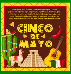 mexican holiday card for cinco de mayo design vector image
