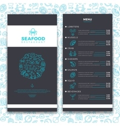Modern seafood restaurant cafe brochure menu vector