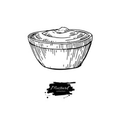 mustardi sauce in bowl drawing hand drawn vector image