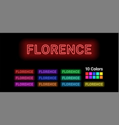 neon name of florence city vector image