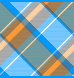 Orange blue gray check plaid seamless pattern vector