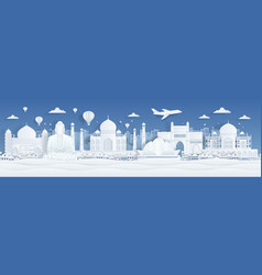 paper cut india travel famous landmarks india vector image