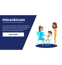 pediatrician checkup banner doctor examining boy vector image