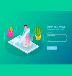 People and interfaces isometric composition vector