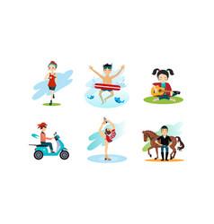 people enjoying various hobbies set man and woman vector image
