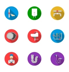 Plumbing set icons in flat style Big collection vector