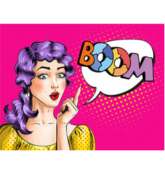 Pop art of woman showing boom vector