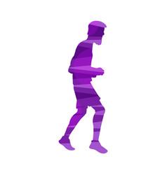 purple silhouette male marathon runner isolated vector image