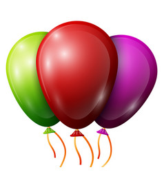 Realistic red green purple balloons with ribbons vector