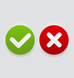 Red and green check mark icons button vector