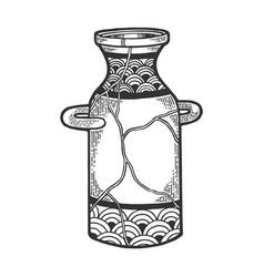 Repaired japan vase kintsugi art sketch engraving vector