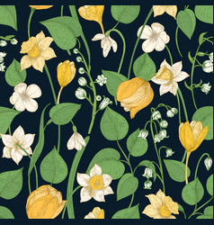 Romantic seamless pattern with tender blooming vector