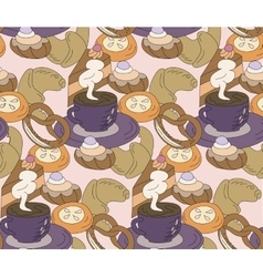 Seamless high tea cake and cats party vector image